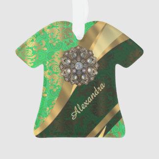 Pretty personalized girly green damask pattern ornament