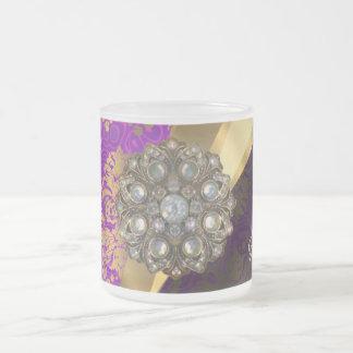 Pretty personalized girly purple damask patten frosted glass coffee mug