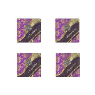Pretty personalized girly purple damask patten stone magnet