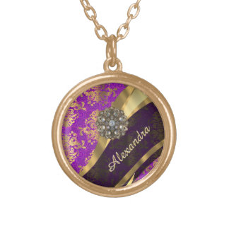 Pretty personalized girly purple damask patten gold plated necklace