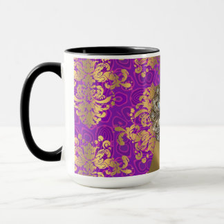 Pretty personalized girly purple damask patten mug