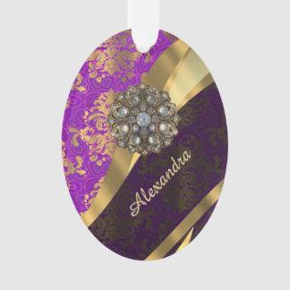 Pretty personalized girly purple damask patten ornament