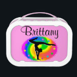 """PRETTY PERSONALIZED GYMNASTICS LUNCHBOX<br><div class=""""desc"""">Delight you special Gymnastics Girl with this colorful and star filled personalized Gymnastics lunch box. This terrific Gymnast is pursuing her goals and dreams to become an International Gymnastics Champion. This awesome Gymnastics lunchbox is perfect for Birthdays, Holidays, or any occasion. Your terrific Gymnast will be encouraged to become a...</div>"""