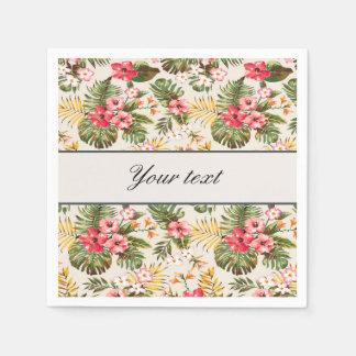 Pretty Personalized Hibiscus Pattern Paper Napkin