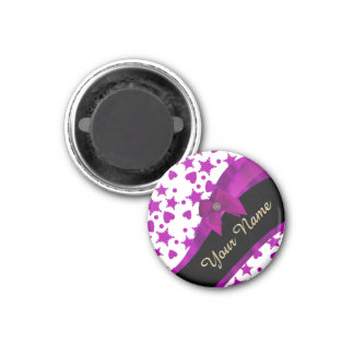 Pretty personalized magenta girly patterned 1 inch round magnet