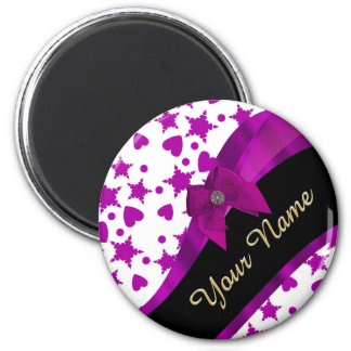 Pretty personalized magenta girly patterned 2 inch round magnet