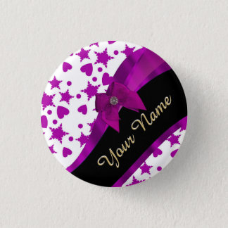 Pretty personalized magenta girly patterned button