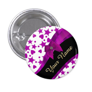 Pretty personalized magenta girly patterned 1 inch round button