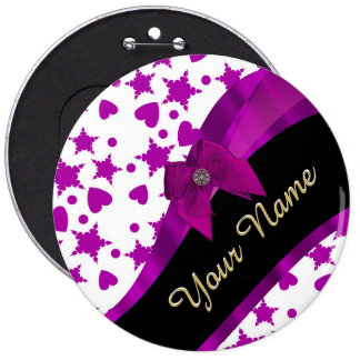 Pretty personalized magenta girly patterned 6 inch round button