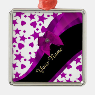 Pretty personalized magenta girly patterned metal ornament