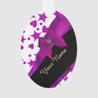 Pretty personalized magenta girly patterned ornament