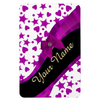 Pretty personalized magenta girly patterned rectangular photo magnet
