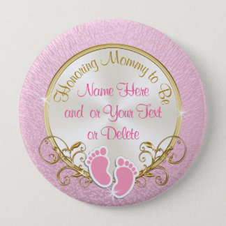 Pretty Personalized Pink and Gold Mommy to Be Pin
