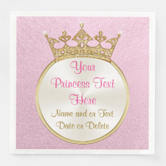 Pretty Personalized Pink and Gold Princess Napkins