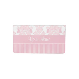 Pretty Personalized Pink Damask and Stripes Checkbook Cover