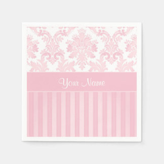 Pretty Personalized Pink Damask and Stripes Paper Napkin