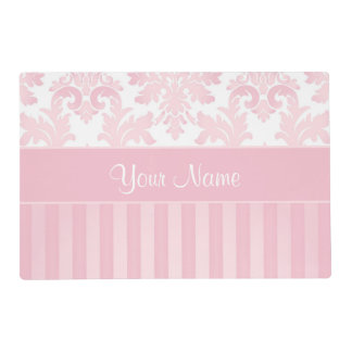 Pretty Personalized Pink Damask and Stripes Placemat