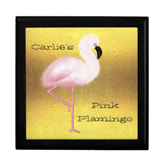 Pretty Personalized Pink Flamingo Gold Gift Box