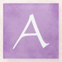 Pretty Personalized Purple Monogram Glass Coaster