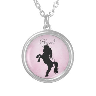 Pretty Personalized Rearing Silhouette Horse Round Pendant Necklace