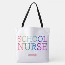Pretty Personalized School Nurse Typography Tote Bag