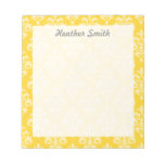 Pretty Personalized Yellow Damask Note Pads