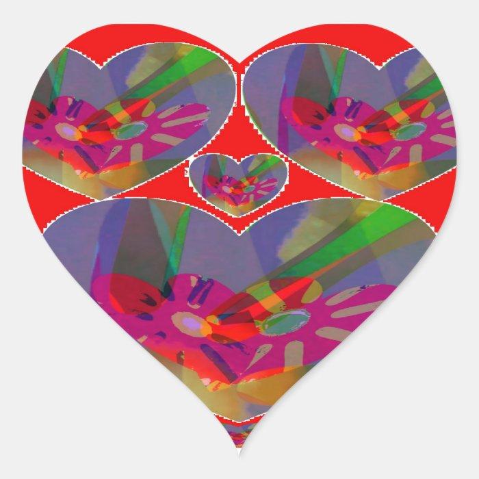 Pretty Petal Hearts Heart Sticker