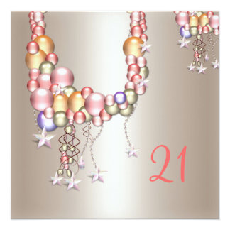 Pretty Pewter Peach Pearls Stars 21st Birthday 5.25x5.25 Square Paper Invitation Card