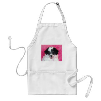 Pretty Phantom Parti Poodle Puppy on Pink Adult Apron