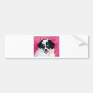 Pretty Phantom Parti Poodle Puppy on Pink Bumper Sticker