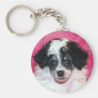 Pretty Phantom Parti Poodle Puppy on Pink Keychain