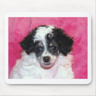 Pretty Phantom Parti Poodle Puppy on Pink Mouse Pad