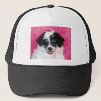 Pretty Phantom Parti Poodle Puppy on Pink Trucker Hat