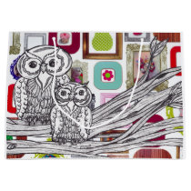 Pretty Picture Owls Large Gift Bag