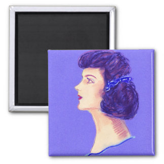 Pretty pin up, Square Magnet with vintage portrait