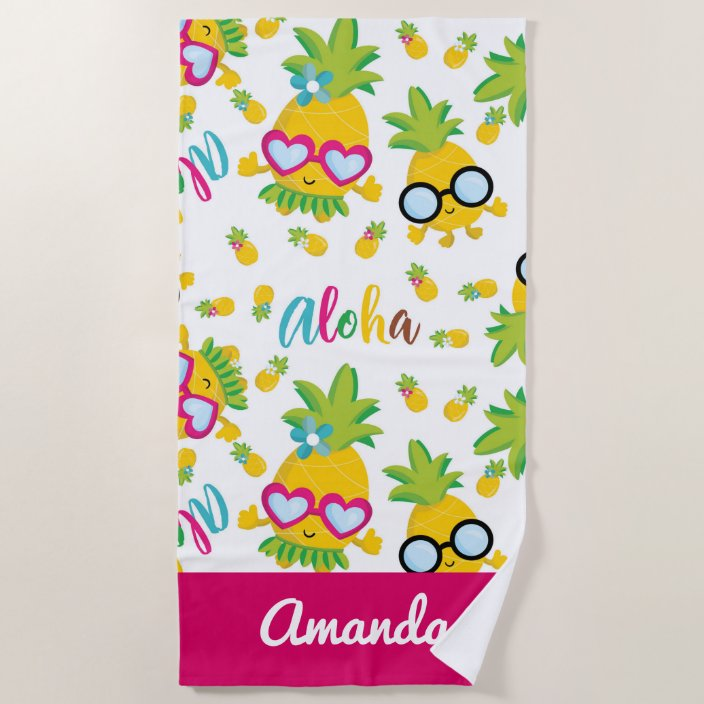 Pretty Pineles Aloha Beach Towel