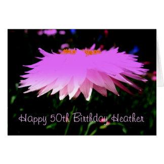 Pretty Pink 50th Birthday Greeting Card