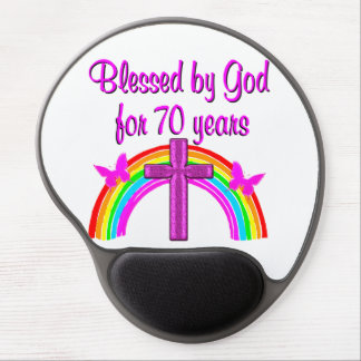 PRETTY PINK 70TH BIRTHDAY CROSS AND RAINBOWS GEL MOUSE PAD