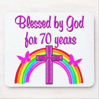 PRETTY PINK 70TH BIRTHDAY CROSS AND RAINBOWS MOUSE PAD