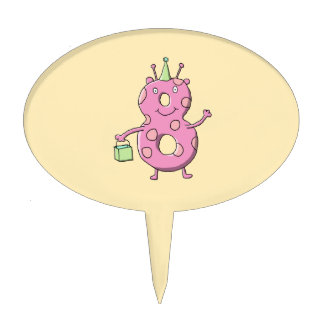 Pretty Pink 8th Birthday Cartoon Monster. Cake Topper