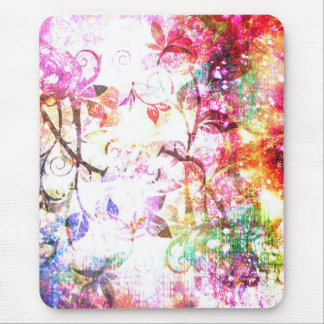 Pretty Pink Abstract Girly Fantasy Rose Design Mouse Pad