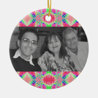 pretty pink abstract photo frame christmas tree ornaments