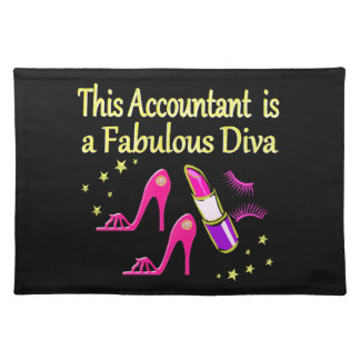 PRETTY PINK ACCOUNTANT DIVA DESIGN CLOTH PLACEMAT