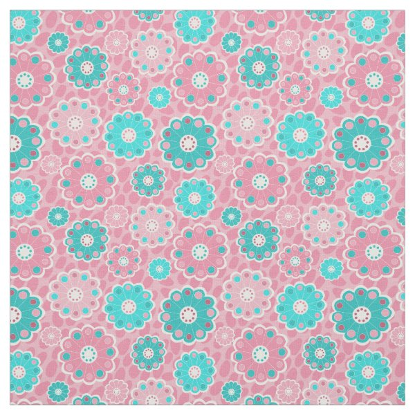 Pretty pink and aqua abstract flowers fabric