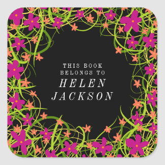 Pretty pink and black floral book name sticker