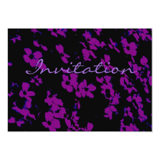 Pretty Pink And Black Flowers 5x7 Paper Invitation Card