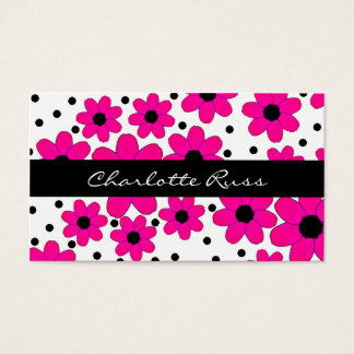 Pretty Pink and Black Flowers Mommy Card