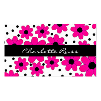 Pretty Pink and Black Flowers Mommy Card Double-Sided Standard Business Cards (Pack Of 100)