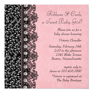 Pretty Pink and Black Lace Baby Girl Shower Personalized Invite
