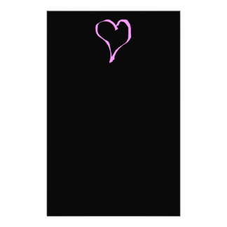 Pretty Pink and Black Love Heart. Stationery
